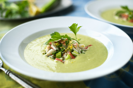 vegetable soup: Creamy avocado soup with fresh crab salad