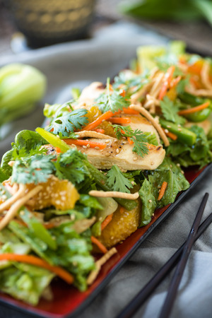 Chinese salad with grilled chicken and vegetables
