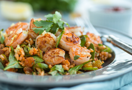 Spice shrimp and rice salad with spinach