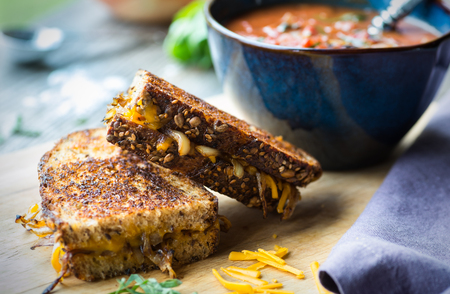 food ingredient: Fresh tomato soup with grilled onion and cheese sandwich Stock Photo