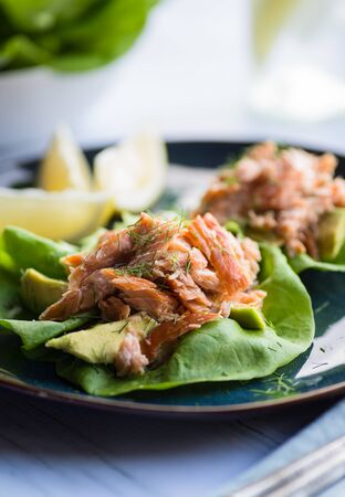 lettuce: Tasty lettuce cups with smoked salmon and avocado Stock Photo
