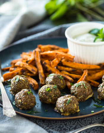 Spicy meatballs with sweet potato fries