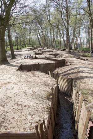 battleground: A beautifully Preserved First World War British trench system near Ypres, Belgium