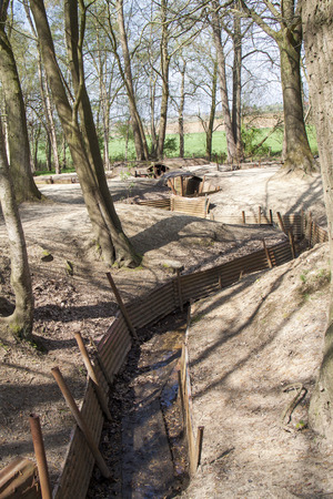 ypres: A beautifully Preserved First World War British trench system near Ypres, Belgium