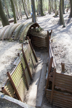 A beautifully Preserved First World War British trench system near Ypres, Belgium