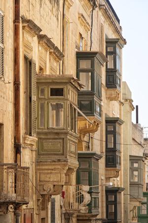 spanish style: Spanish style balconies in Valletta, Malta Editorial