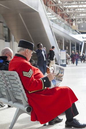 treasured: A Chelsea Pensioner at Waterloo Station Editorial