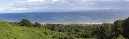 battleground: Panoramic of Omaha Beach, Normandy, France