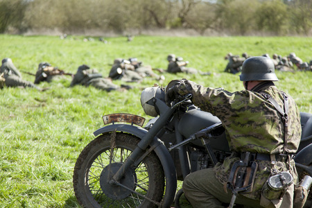 reenactment: A German fighting force in a ww2 re-enactment