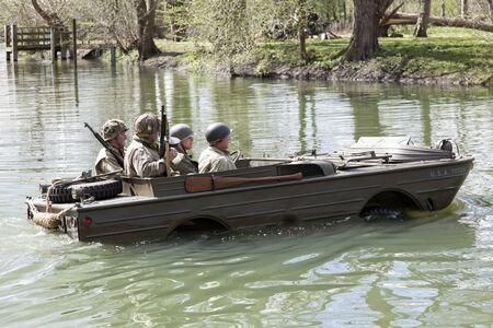 reenactment: An amphibious craft about to take part in a reenactment battle