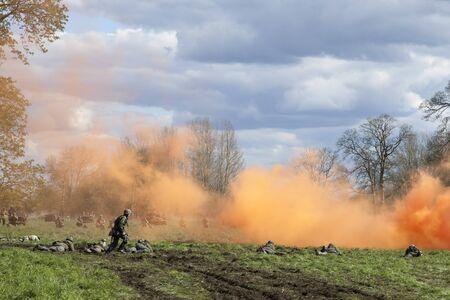 Battle scene in ww2 re-enactment battle