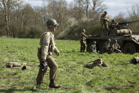 War photographer in WW2 re-enactment scene