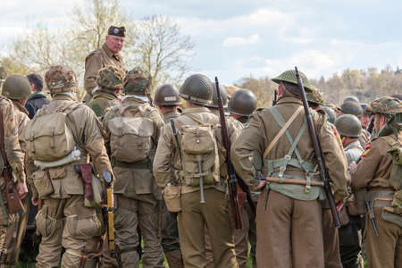 reenactment: WW2 re-enactment briefing before the war Editorial