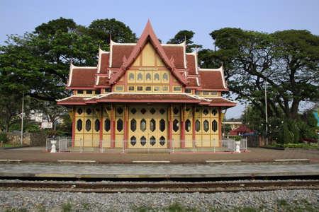 wood railways: Ornate Hau Hin rail station, Thailand