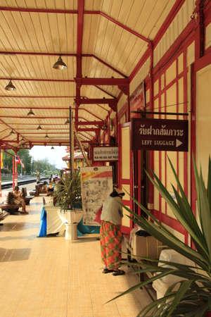 wood railways: beautiful wooden rail station platform at Hau Hin, Thailand Editorial