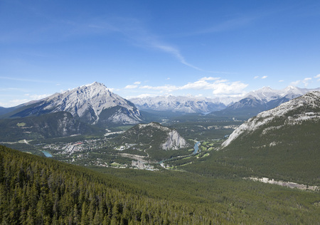 The Rocky Mountains, Canada. From Sulphur Mountain Stock Photo