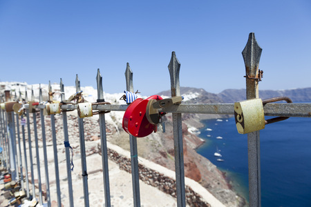 locked: Locked padlocks in Santorini, Greece