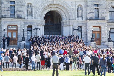 Graduation day outside the Legislature Building, Victoria
