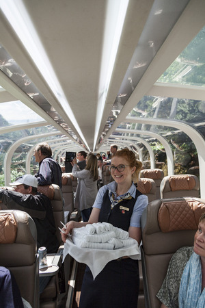 Hostess in the Rocky Mountaineer train