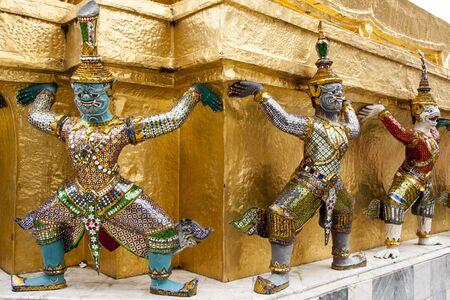 Row of demon figures at Grand Palace, Bangkok