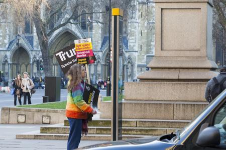 Female demonstrator, London, January 21, 2017 Editorial