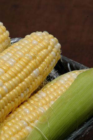 sweet corn in husk on black background
