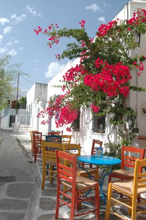 a cafe setting in the greek islands with beautiful flowers