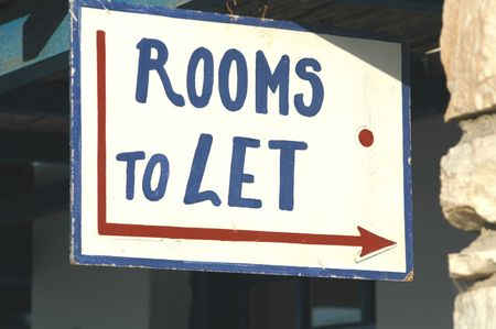 to let: rooms to let sign in the greek islands