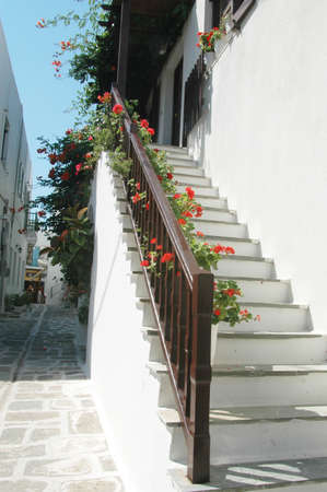hand rails: stairway with flowers in the greek islands
