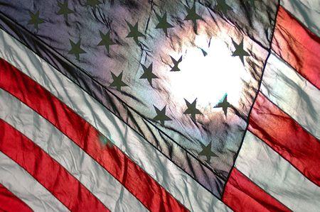 vj: bandiera usa diagonale con sole che splende attraverso la schiena
