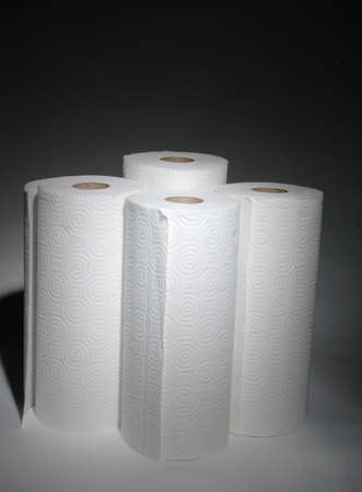 4 rolls of paper towels Stock Photo