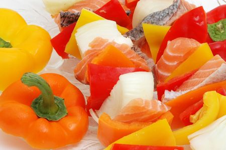 salmon and veggies on a skewer