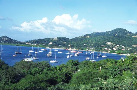 anchorage: a safe anchorage for boats in the caribbean Stock Photo