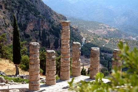 delfi: columns in ancient delphi, greece