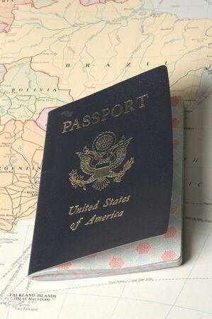 アトラスに米国のパスポート 写真素材
