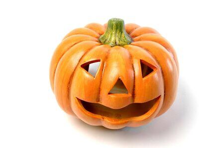 hollows: a ceramic halloween jack o lantern  pumpkin Stock Photo