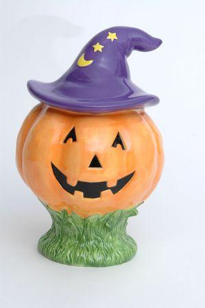 halloween jack o lantern on white photo