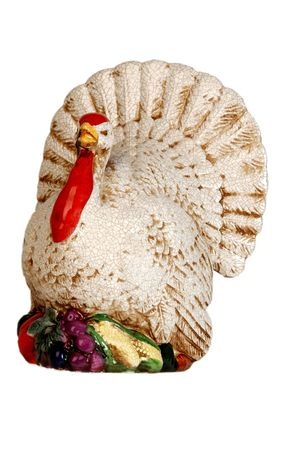 gobble:  a ceramic gobble, gobble, turkey isolated on white on an angle Stock Photo