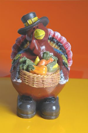 father pilgrim turkey with a bountiful harvest in his basket
