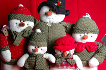 close up of family of cute snowmen at holiday time Stock Photo - 241870