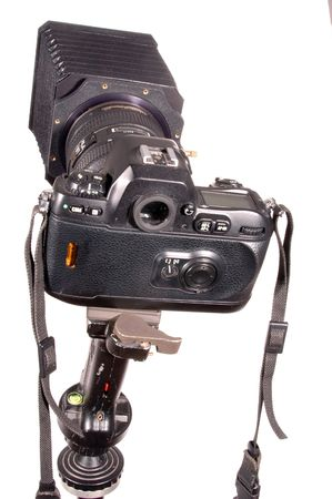 compendium: pro camera loaded with film on tripod with compendium Stock Photo