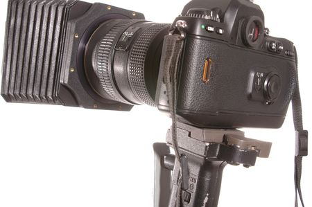 compendium: pro camera on tripod with compendium shade  and quick release