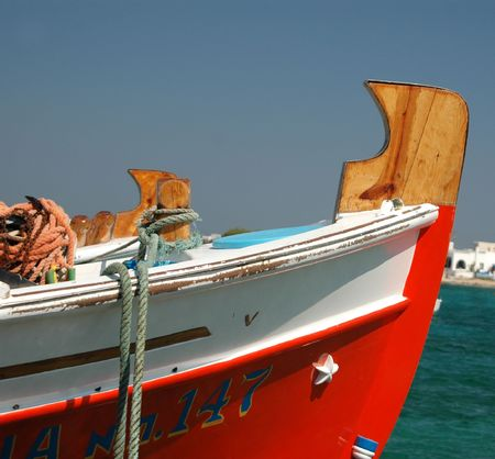 cordage: bow of typical greek fishing boat seen in greek islands