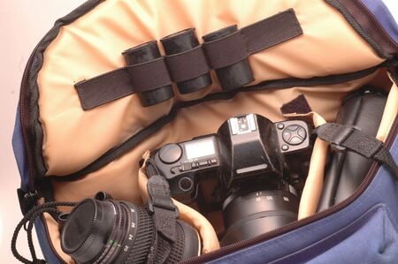 fanny: film camera, wide angle lens and film in fanny pack