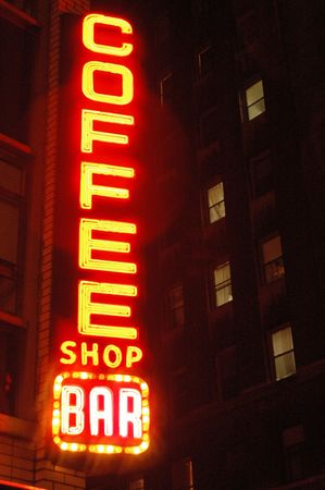 coffee shop bar with apartment windows new york city photo