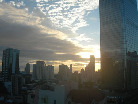 panama city skyline sunrise 版權商用圖片