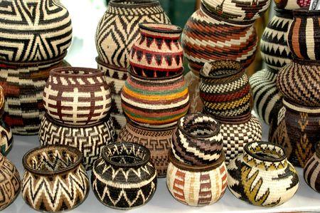 panama embera indian woven baskets 824 Stock Photo