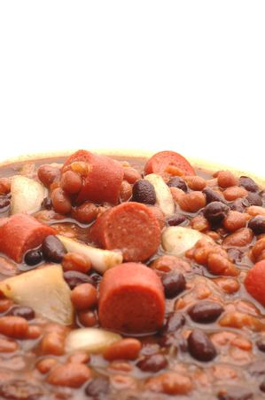 franks and beans focus on food at top of bowl room for copy photo