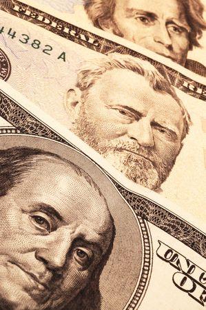 statesman: three usa presidential portraits on money focus on franklin fading to andrew jackson macro