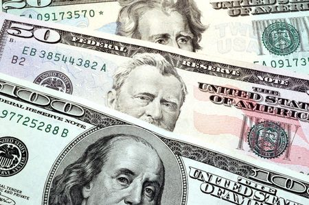 moola: franklin grant jackson on usa dollars macro with great detail Stock Photo